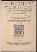 Preview image of Epitome de l'antiquite des Gaules et de France