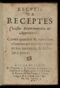Preview image of Recueil de receptes choisies experimentées & approuvées